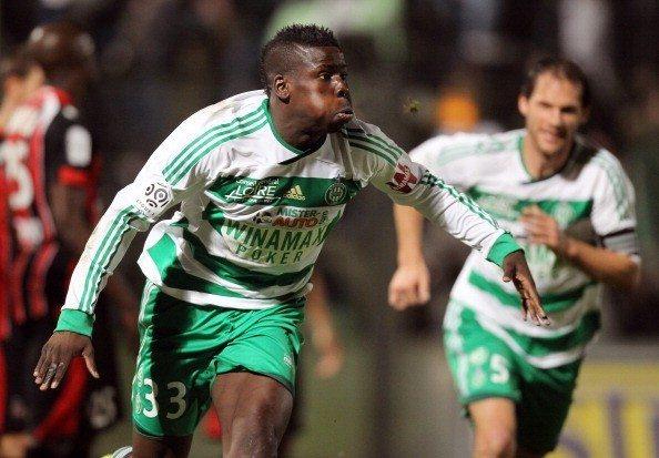 Saint Etienne's defender Kurt Zouma cele