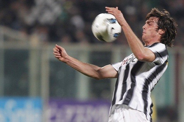 Juventus'  Paolo De Ceglie controls the
