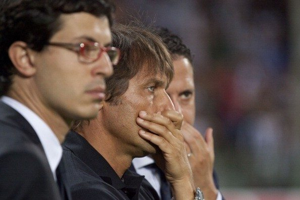 Juventus Turin's coach Antonio Conte rea