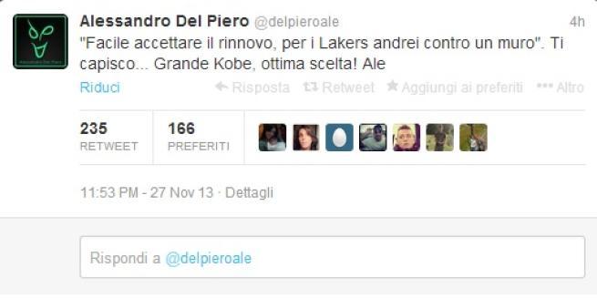 Del Piero approfitta del rinnovo di Bryant coi Laker per una frecciatina alla Juventus