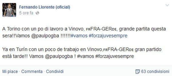 Juventus: Fernando Llorente si allena già a Vinovo