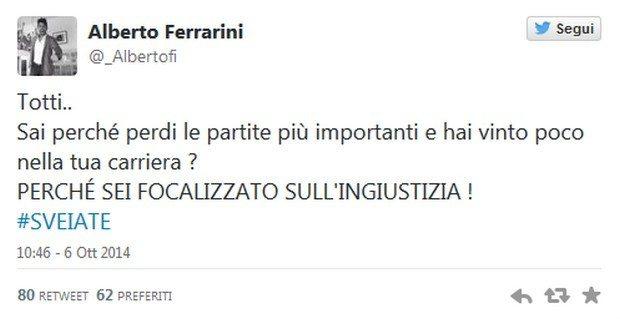 "Ferrarini, motivatore Bonucci: ""Totti sveiate"""
