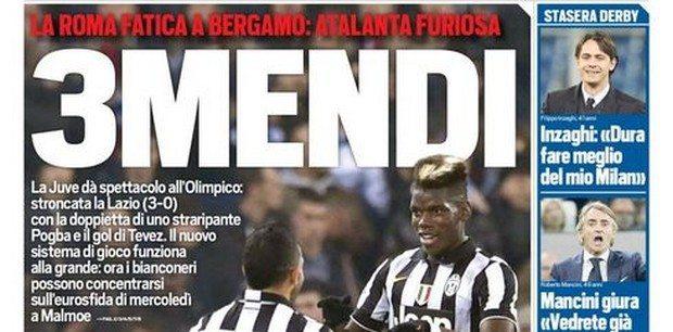 Pagelle Lazio-Juventus 0-3: Tevez leader, Pogba troppo forte