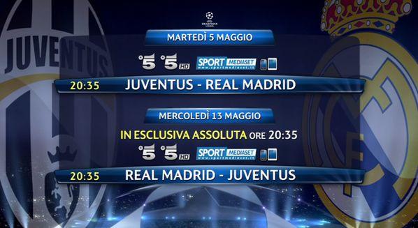 Juventus-Real Madrid: diretta TV in chiaro su Canale 5