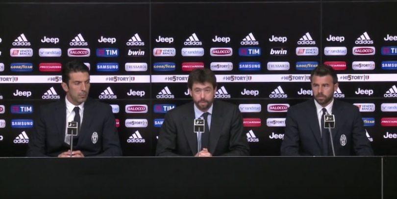 Conferenza stampa Agnelli Buffon Barzagli
