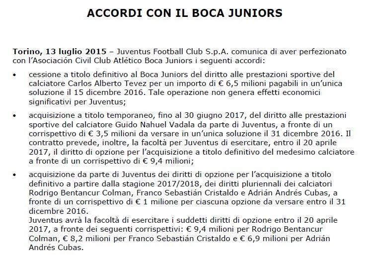 calciomercato - comunicato ufficiale Bentancur