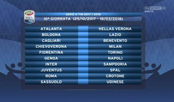 Calendario 10 Giornata Serie A.Calendario Serie A 2017 2018 Tutte Le Partite Della Juventus