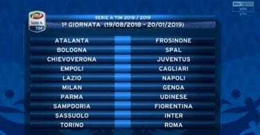 calendario Serie A 2018-2019 Juventus