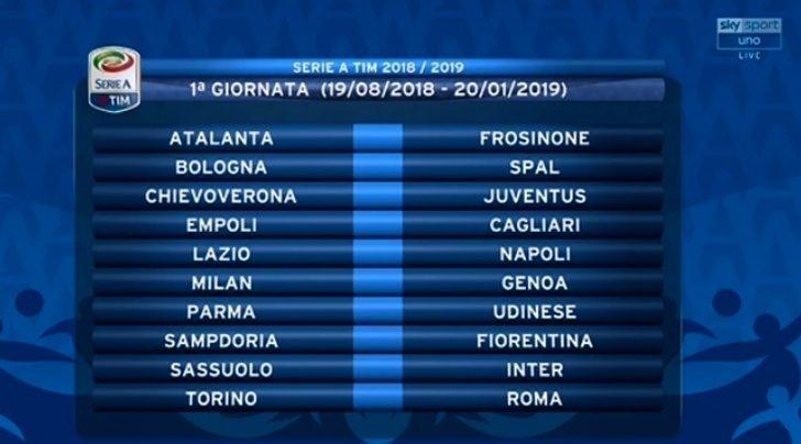 Juventus Calendario Serie A.Calendario Serie A 2018 2019 Le 38 Giornate Della Juventus