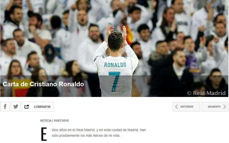 lettera ronaldo real