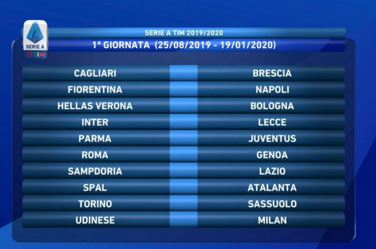 Calendario Serie A Sampdoria.Calendario Serie A 2019 2020 Le 38 Giornate Della Juventus
