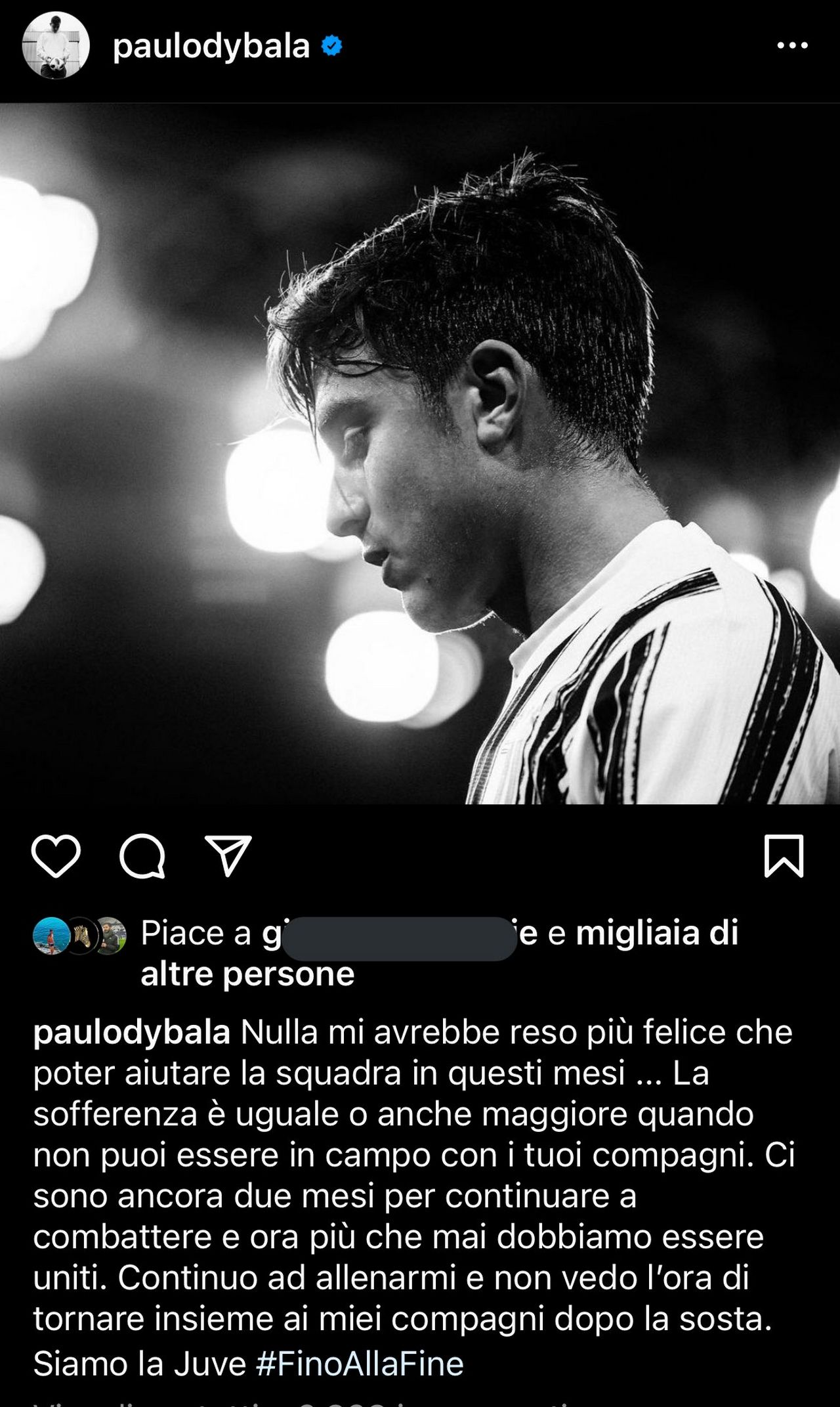 dybala messaggio instagram